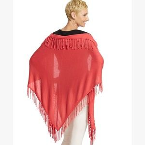 Chico's Coral Pink Mallory Fringe Triangle Wrap